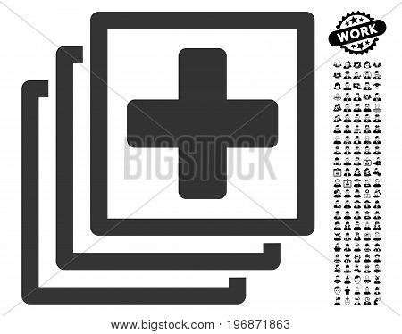 Medical Docs icon with black bonus professional symbols. Medical Docs vector illustration style is a flat gray iconic element for web design, app user interfaces.