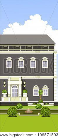Vector illustration of a building facade balcony with a window gardening