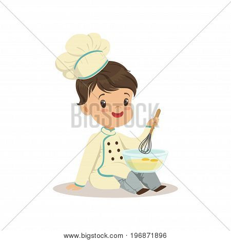 Cute little boy chef with mixing bowl and a whisk vector Illustration isolated on a white background