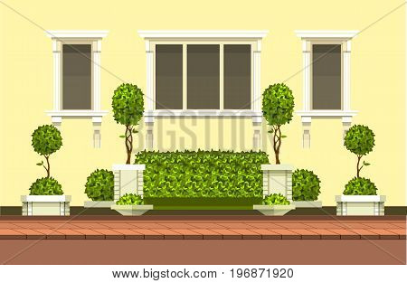 Vector clipart building with hedge topiary trees and a place for rest outdoor scene