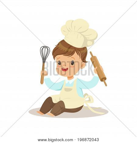 Cute little boy chef with whisk and rolling pin vector Illustration isolated on a white background