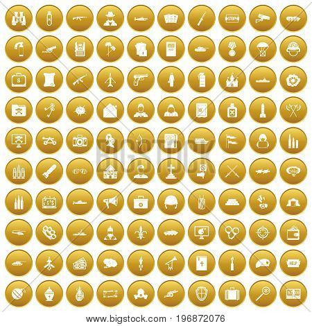 100 military icons set in gold circle isolated on white vector illustration