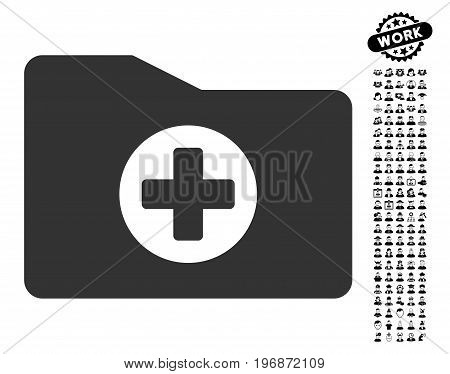 Medical Folder icon with black bonus men icon set. Medical Folder vector illustration style is a flat gray iconic element for web design, app user interfaces.