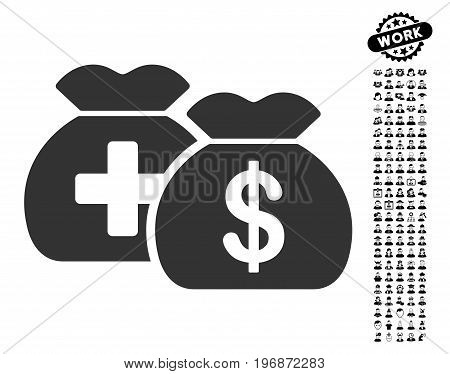 Medical Fund Bags icon with black bonus work pictograph collection. Medical Fund Bags vector illustration style is a flat gray iconic element for web design, app user interfaces.