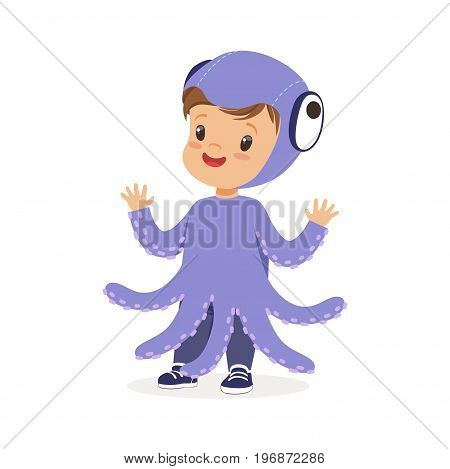 Cute happy little kid dressed as a purple octopus, carnival costume vector Illustration isolated on a white background