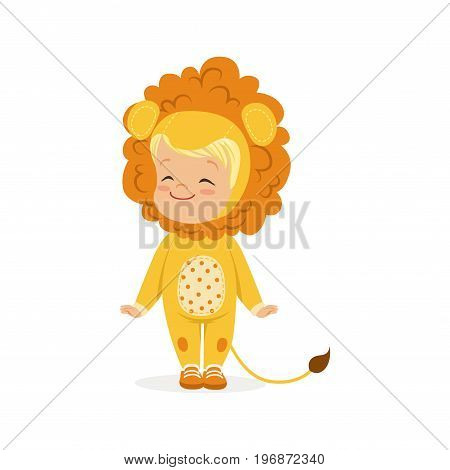 Cute happy little boy dressed as a lion cub, kids carnival costume vector Illustration isolated on a white background