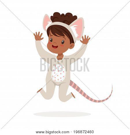 Cute happy little girl dressed as a mouse, kids carnival costume vector Illustration isolated on a white background