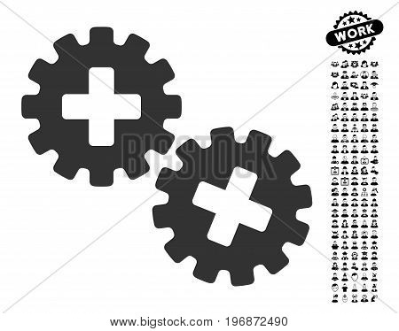 Medical Gears icon with black bonus people graphic icons. Medical Gears vector illustration style is a flat gray iconic element for web design, app user interfaces.