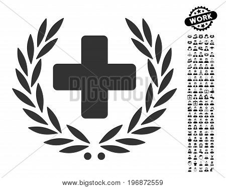 Medical Glory icon with black bonus men pictures. Medical Glory vector illustration style is a flat gray iconic symbol for web design, app user interfaces.