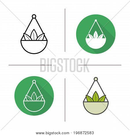 Apothecary herbs in scalepan icon. Flat design, linear and color styles. Loose tea leaves. Isolated vector illustrations