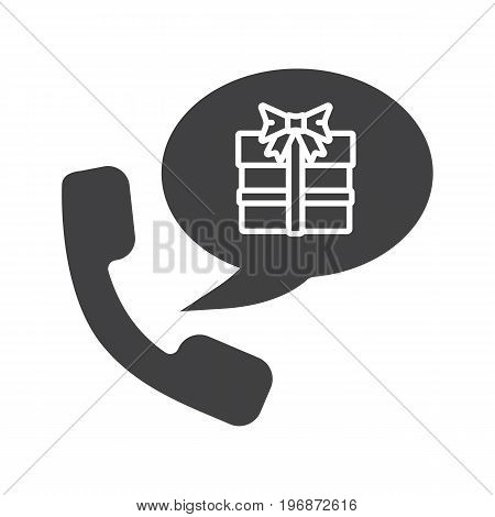 Party organizer glyph icon. Silhouette symbol. Gifts phone order. Handset with present box inside speech bubble. Negative space. Vector isolated illustration