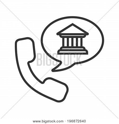 Bank phone call linear icon. Thin line illustration. Handset with bank building inside speech bubble contour symbol. Vector isolated outline drawing
