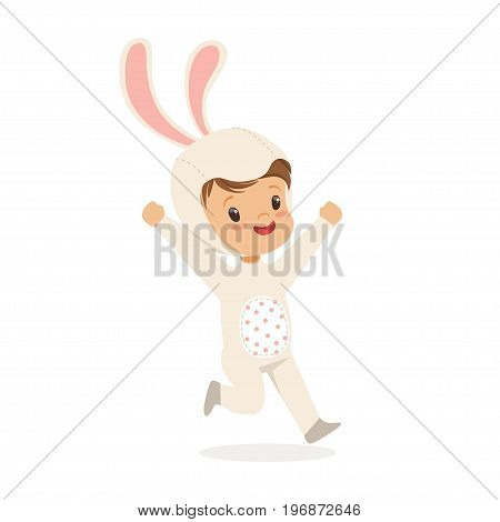 Cute happy boy dressed as a white bunny, kids carnival costume vector Illustration isolated on a white background