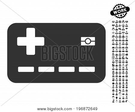 Medical Insurance Card icon with black bonus professional clip art. Medical Insurance Card vector illustration style is a flat gray iconic symbol for web design, app user interfaces.