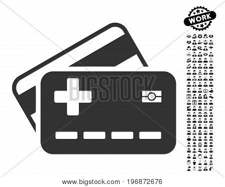 Medical Insurance Cards icon with black bonus work clip art. Medical Insurance Cards vector illustration style is a flat gray iconic element for web design, app user interfaces.