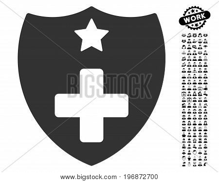 Medical Insurance Shield icon with black bonus work images. Medical Insurance Shield vector illustration style is a flat gray iconic element for web design, app user interfaces.