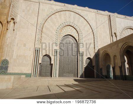 Door of Hassan II mosque in Casablanca, Morocco