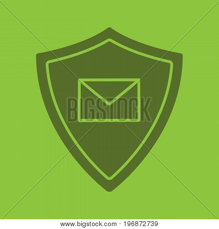 Email security glyph color icon. Silhouette symbol. Sms message inside protection shield. Spam protection. Negative space. Vector isolated illustration