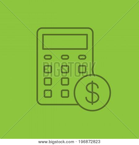 Calculations linear icon. Calculator with dollar sign. Financial planning. Thin line outline symbols on color background. Vector illustration