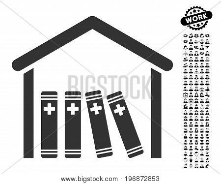 Medical Library icon with black bonus profession images. Medical Library vector illustration style is a flat gray iconic symbol for web design, app user interfaces.