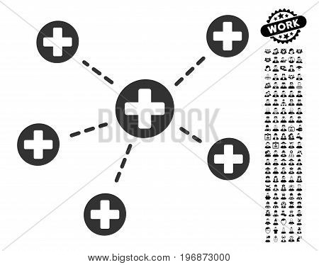 Medical Links icon with black bonus people symbols. Medical Links vector illustration style is a flat gray iconic element for web design, app user interfaces.