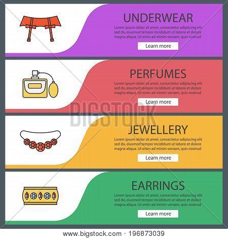 Women's accessories web banner templates set. Underwear garters, perfume, necklace, bracelet. Website color menu items. Vector headers design concepts