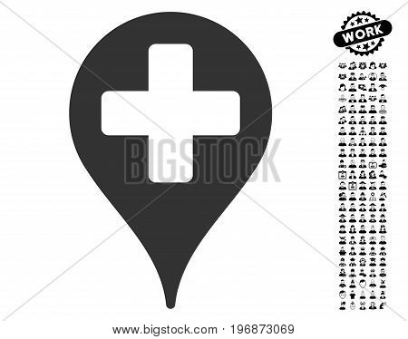 Medical Map Marker icon with black bonus men images. Medical Map Marker vector illustration style is a flat gray iconic element for web design, app user interfaces.