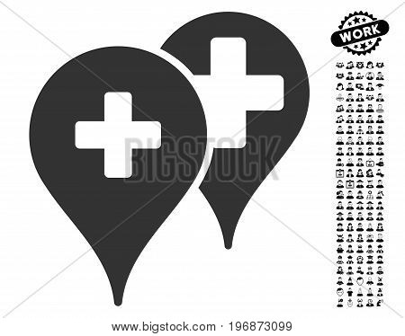 Medical Map Markers icon with black bonus professional pictograms. Medical Map Markers vector illustration style is a flat gray iconic element for web design, app user interfaces.