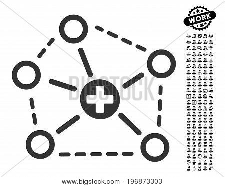Medical Network Structure icon with black bonus job icon set. Medical Network Structure vector illustration style is a flat gray iconic symbol for web design, app user interfaces.