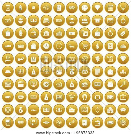 100 money icons set in gold circle isolated on white vector illustration