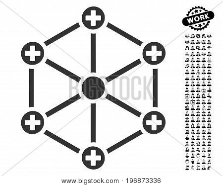 Medical Network icon with black bonus people icon set. Medical Network vector illustration style is a flat gray iconic symbol for web design, app user interfaces.