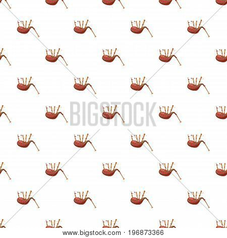 Scottish bagpipe pattern seamless repeat in cartoon style vector illustration