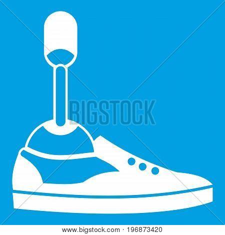 Prosthetic leg icon white isolated on blue background vector illustration