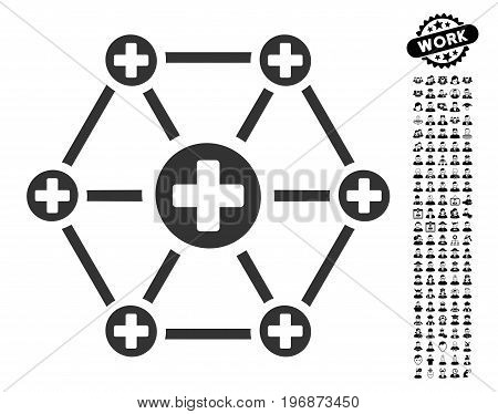 Medical Network icon with black bonus job clip art. Medical Network vector illustration style is a flat gray iconic element for web design, app user interfaces.