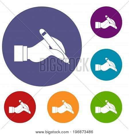 Hand holding black pen icons set in flat circle red, blue and green color for web