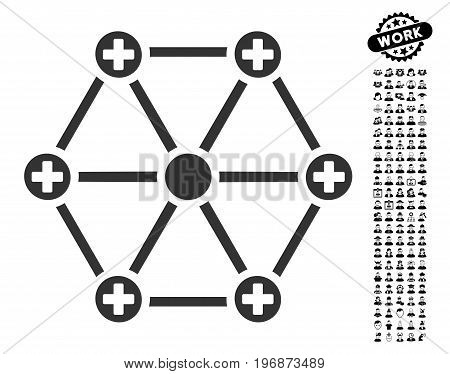 Medical Network icon with black bonus profession pictograms. Medical Network vector illustration style is a flat gray iconic element for web design, app user interfaces.