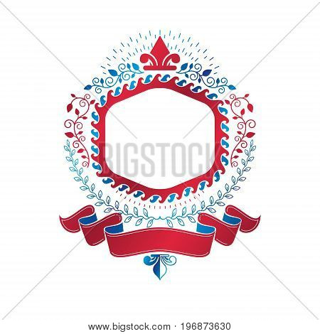 Graphic emblem created using royal symbol Lily Flower and decorative ribbon. Heraldic Coat of Arms decorative logo isolated vector illustration.