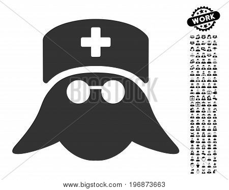 Medical Nurse Head icon with black bonus job icon set. Medical Nurse Head vector illustration style is a flat gray iconic element for web design, app user interfaces.
