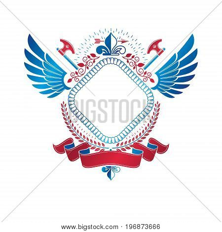 Graphic winged emblem created using royal symbol Lily Flower sharp axes and decorative ribbon. Heraldic Coat of Arms decorative logo isolated vector illustration.