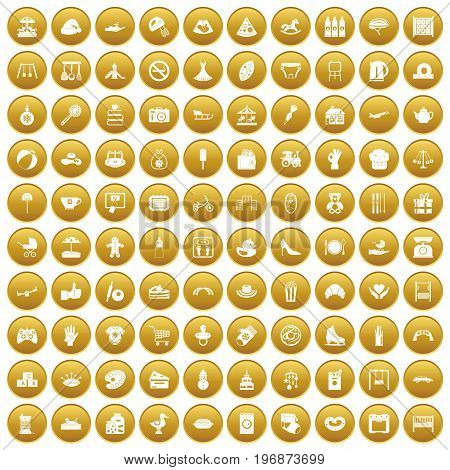 100 mother and child icons set in gold circle isolated on white vector illustration