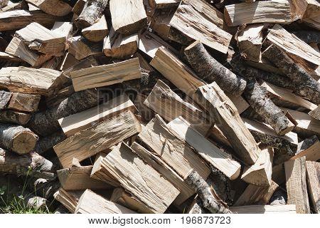 A heap of freshly cut firewood mostly beech