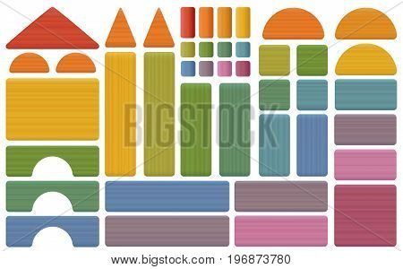 Building kit - colorful set of toy blocks with bricks, roofs, spires, pillars and archs - all parts with wooden texture. Isolated vector illustration on white background.