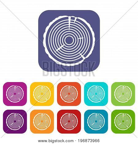 Tree ring icons set vector illustration in flat style in colors red, blue, green, and other
