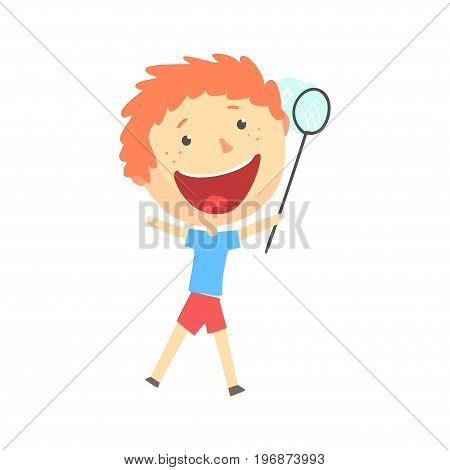 Happy smiling cartoon redhead boy playing with a butterfly net, kids outdoor activity, colorful character vector Illustration isolated on a white background