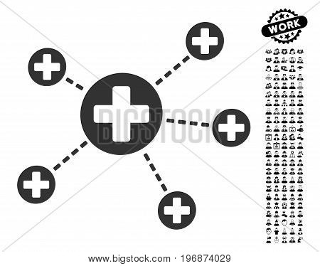 Medical Relations icon with black bonus profession images. Medical Relations vector illustration style is a flat gray iconic element for web design, app user interfaces.