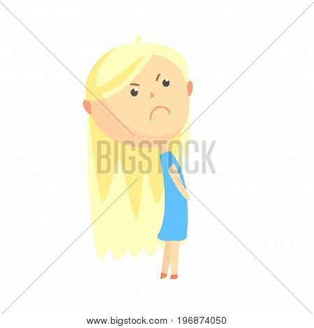 Sad offended cartoon blonde girl, colorful character vector Illustration isolated on a white background