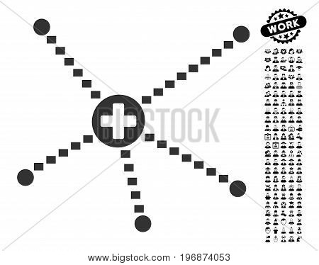Medical Relations icon with black bonus work clip art. Medical Relations vector illustration style is a flat gray iconic symbol for web design, app user interfaces.
