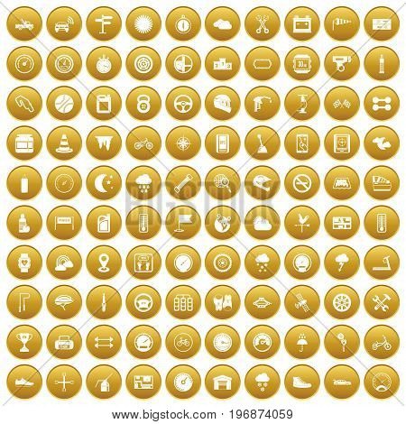 100 motorsport icons set in gold circle isolated on white vector illustration