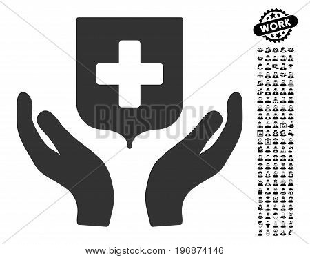 Medical Shield Care Hands icon with black bonus men pictures. Medical Shield Care Hands vector illustration style is a flat gray iconic symbol for web design, app user interfaces.