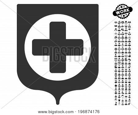 Medical Shield icon with black bonus professional images. Medical Shield vector illustration style is a flat gray iconic element for web design, app user interfaces.